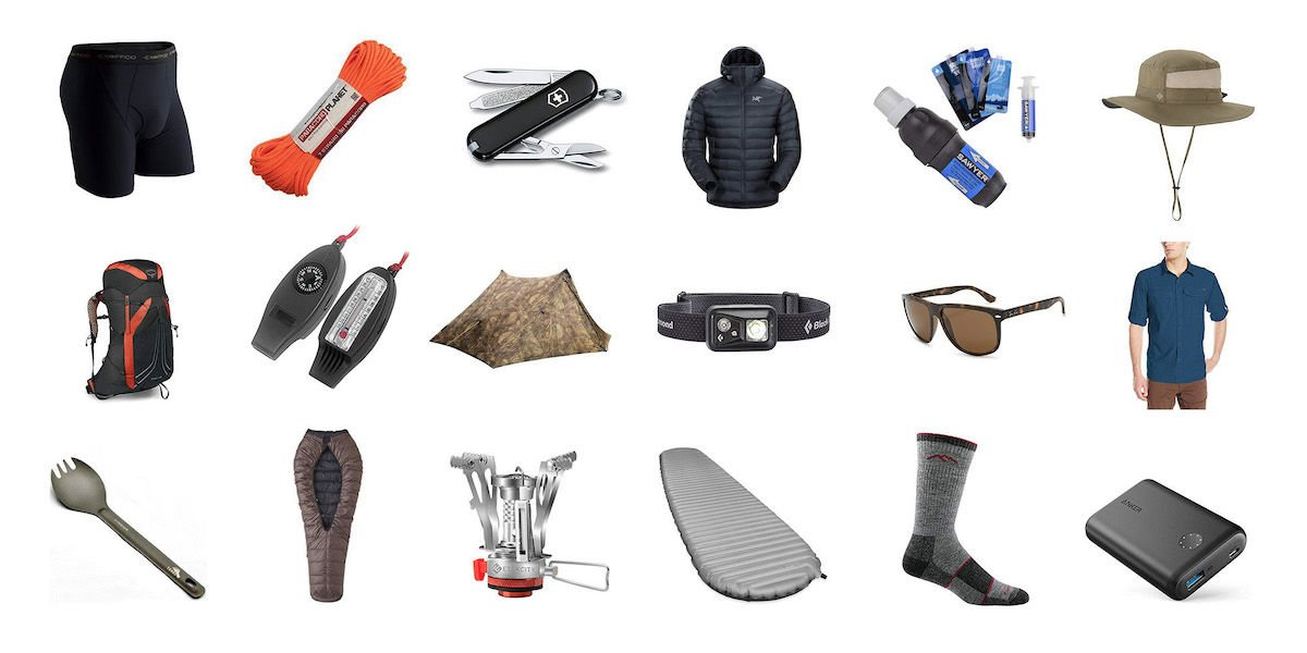 Multiple lightweight backpacking items that are part of a gear list