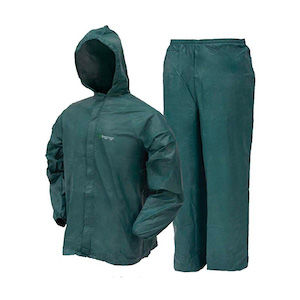 A green rain suit for lightweight backpacking