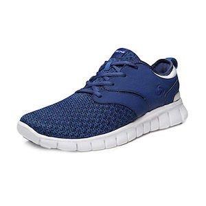 A blue knit running shoe