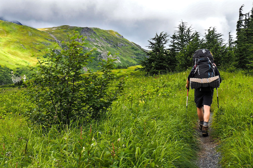 A hiker walking down a trail during a fitness challenge