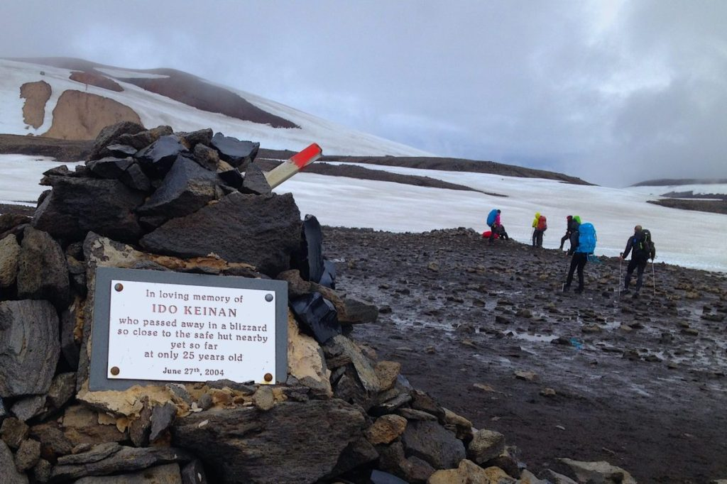 Memorial of rocks and a plaque for Ido Keinan, an Israeli hiker who died on the Laugavegurinn Trek in Iceland