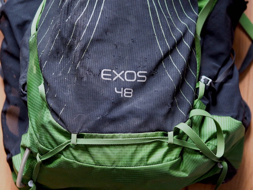 Up close view of damage and slight tearing on the mesh external pockets of the Osprey Exos 48