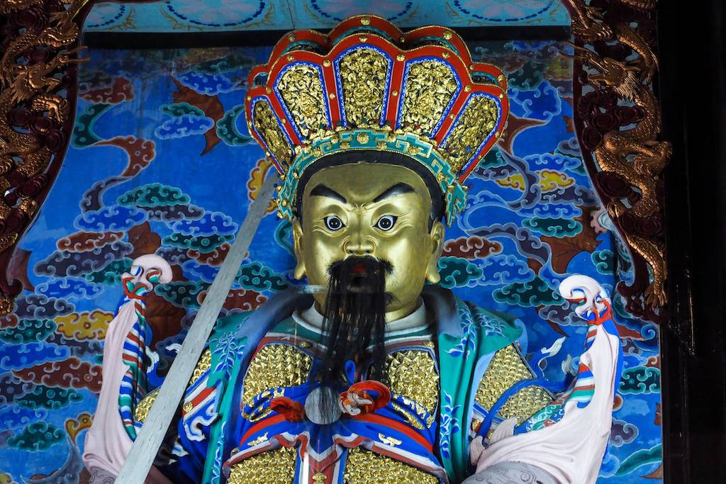 Blue shrine of Buddhist God in the Wenshu Monastery of Chengdu