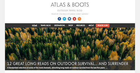 A screen shot of AtlasandBoots.com