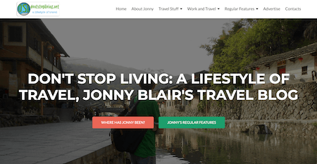 A screen shot of DontStopLiving.com as a top travel blog
