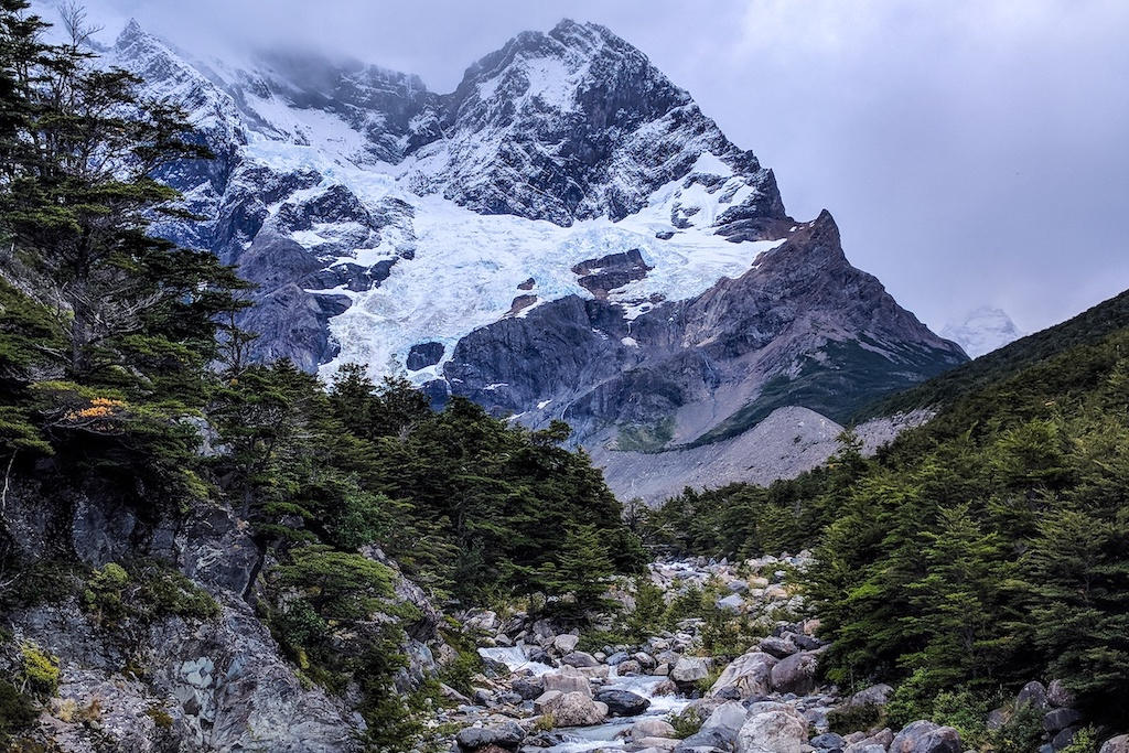 View of cloudy snow-capped mountain and Glacier Frances