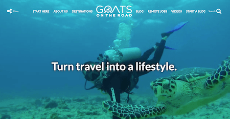 A screen shot of GoatsontheRoad.com as a top travel blog