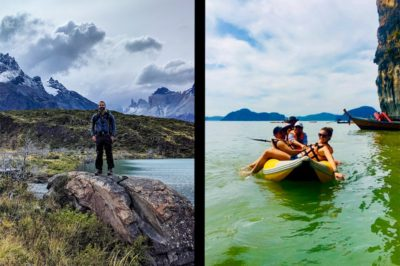 Solo traveling couple split-screen. Man trekking Torres del Paine. Woman in Kayak in Thailand.