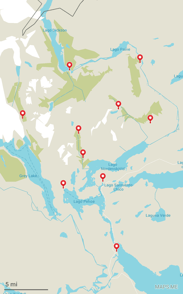 My Maps.me route of Torres del Paine's 'O' Circuit, complete with waypoints.
