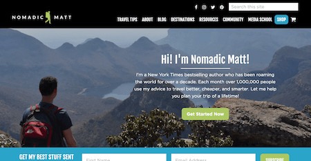 A screen shot of NomadicMatt.com as a top travel blog