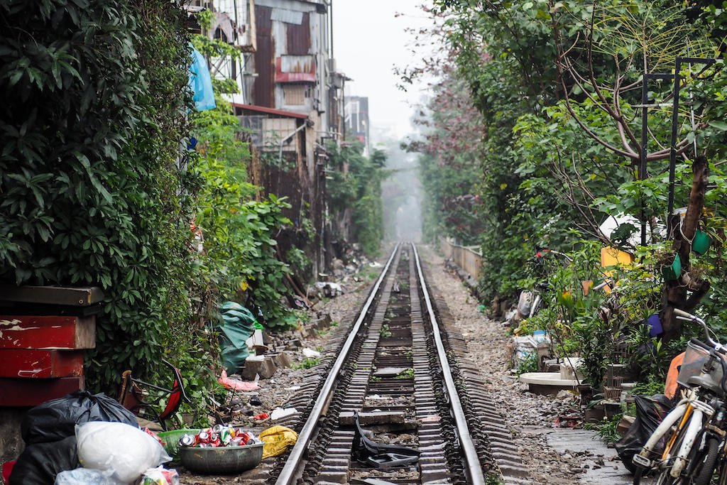 Train tracks leading down a Hanoi alley taken during my 24-hour adventure