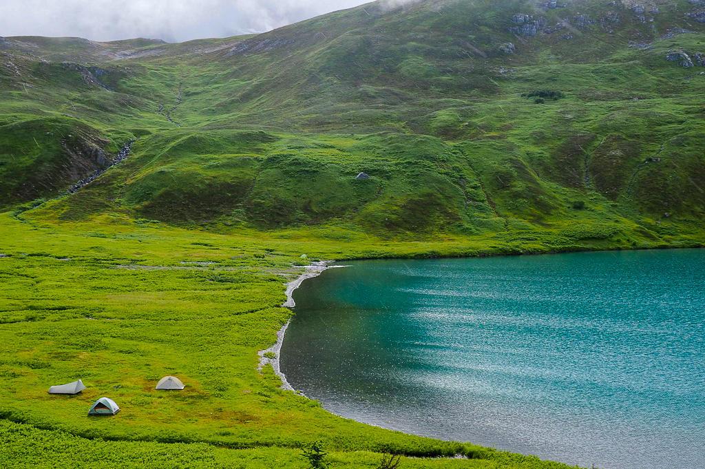 Three tents set up near Lost Lake in Alaska
