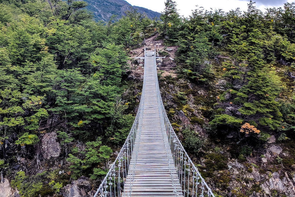 A bridge leading over a river on the Q Trek in Torres del Paine