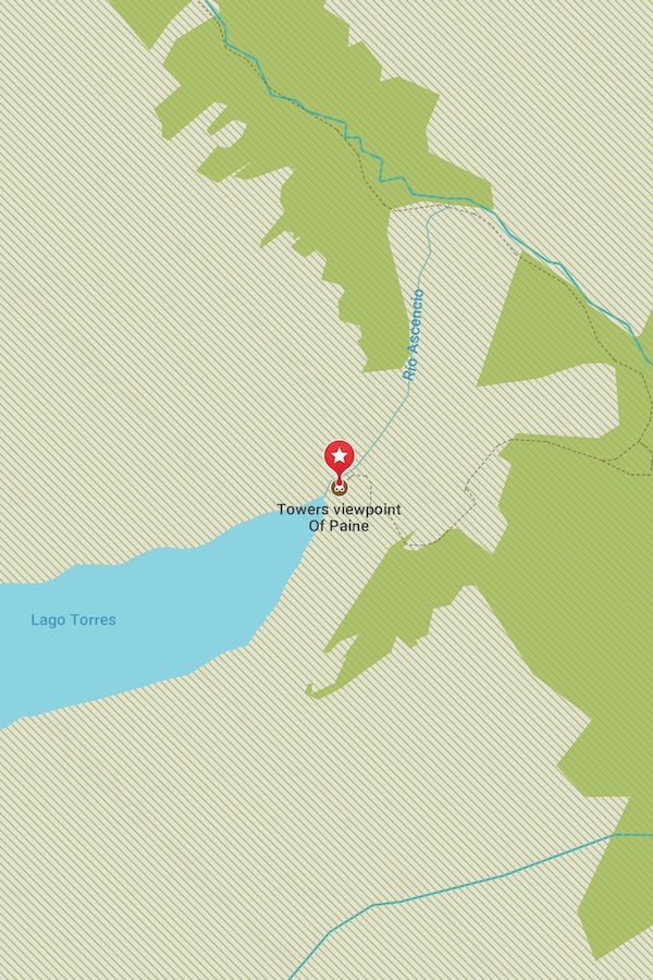A closeup map of the Britanico Lookout on the 'O' Circuit trek