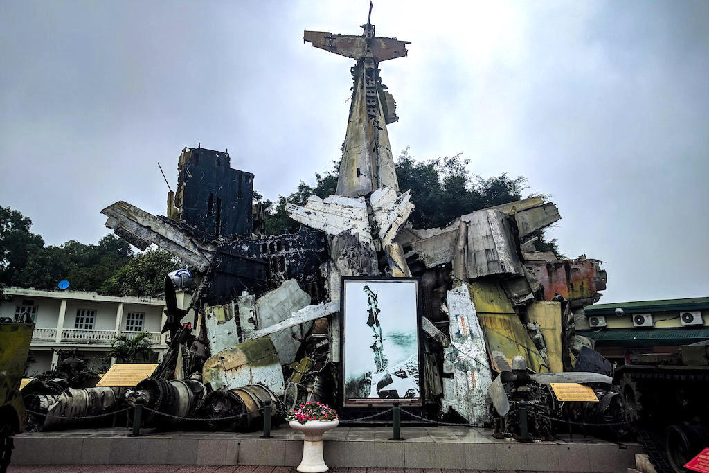 Wreckage of planes and other war materials sit in front of the Vietnam Military History Museum in Hanoi