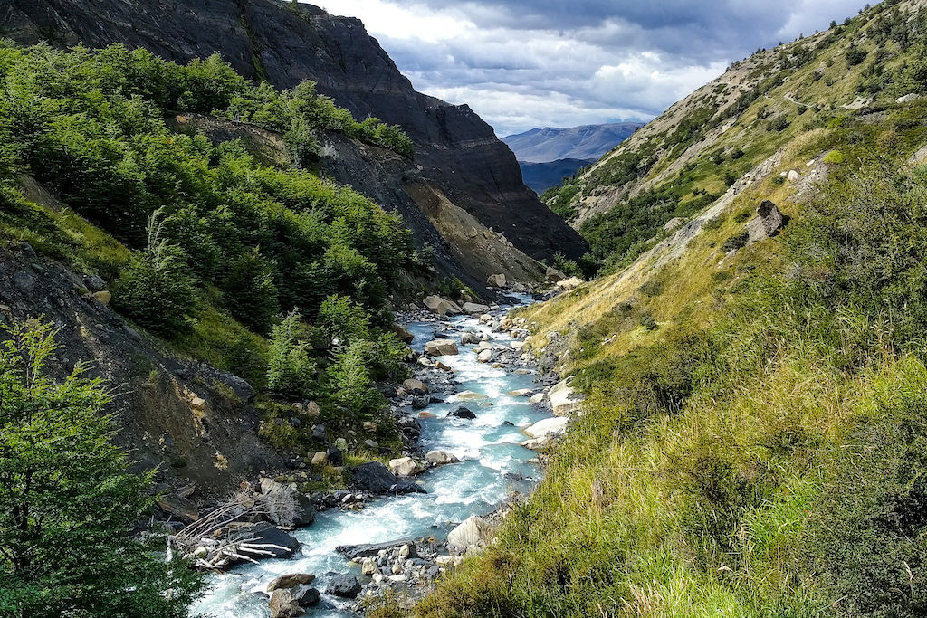 A river flowing full of clean drinking water in Torres del Paine National Park