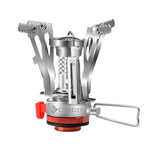 A backpacking camping stove