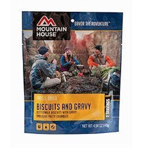 Dehydrated backpacking meal biscuits and gracy