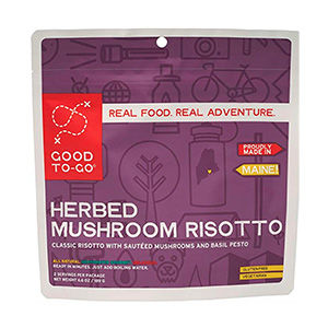 Package of dehydrated mushroom risotto meal