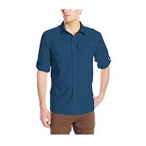 Blue button up travel shirt