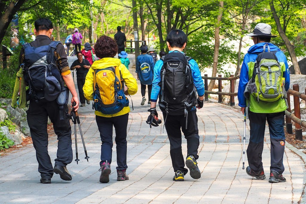 Four people decked out in colorful hiking gear walking down a paved path
