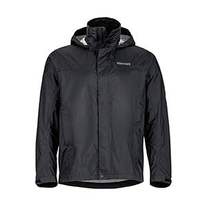 Black lightweight travel packing rain jacket