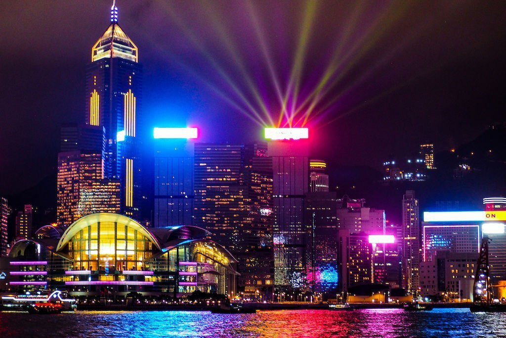 Skyline night view of Hong Kong during the Symphony of Lights