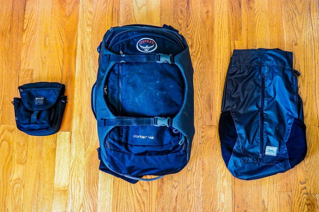 Travel luggage on a hardwood floor