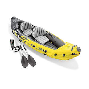 Inflatable yellow 2-person kayak