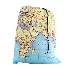 A laundry bag with a map of the world