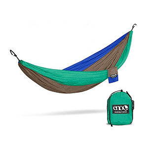 A green, red, and blue hammock for full-time van living
