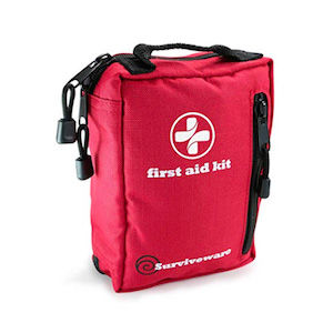 A red first-aid kit: a must have for van living