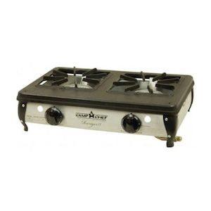 A two-burner camping stove