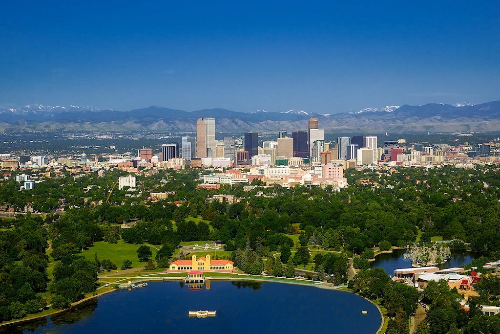 A view from a helicopter of Denver, Colorado