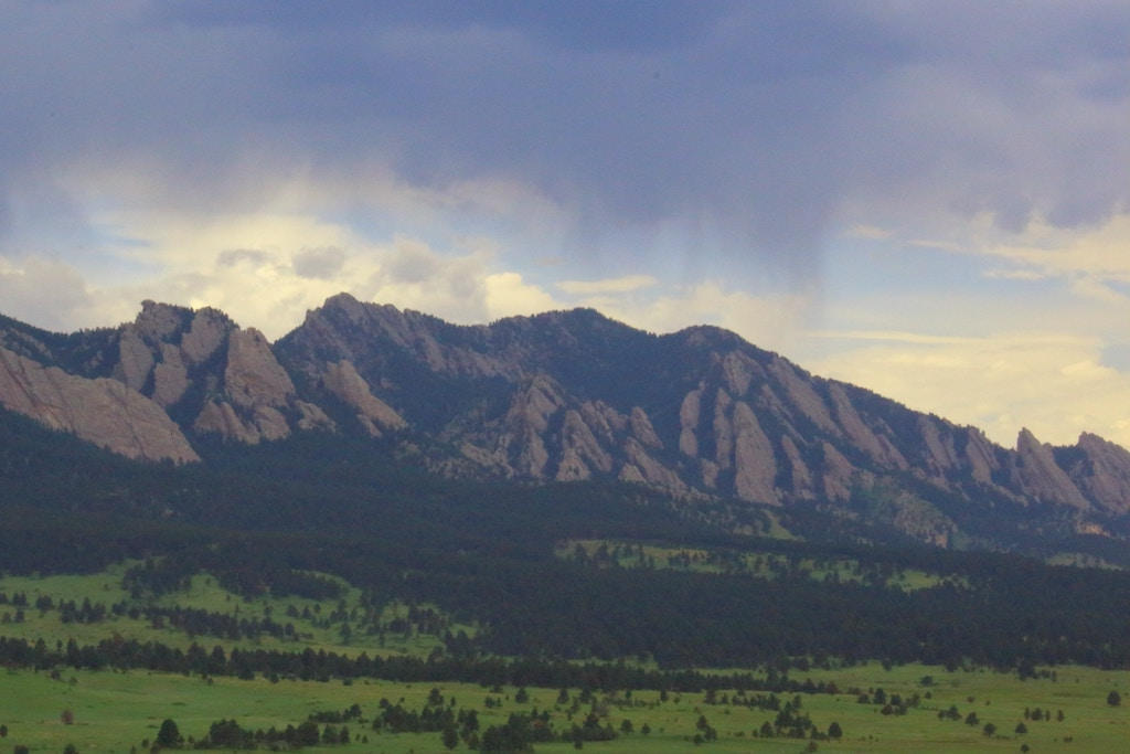 Views of the flatirons at sunset of Boulder, Colorado