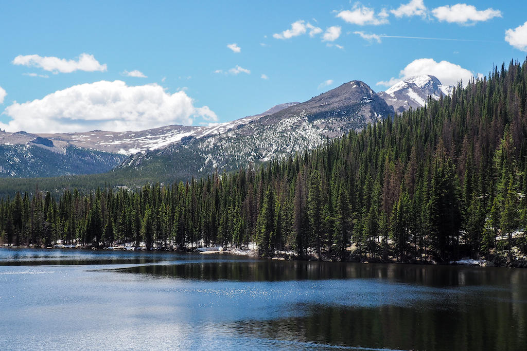 Views of a glassy lake in Rocky Mountain National Park